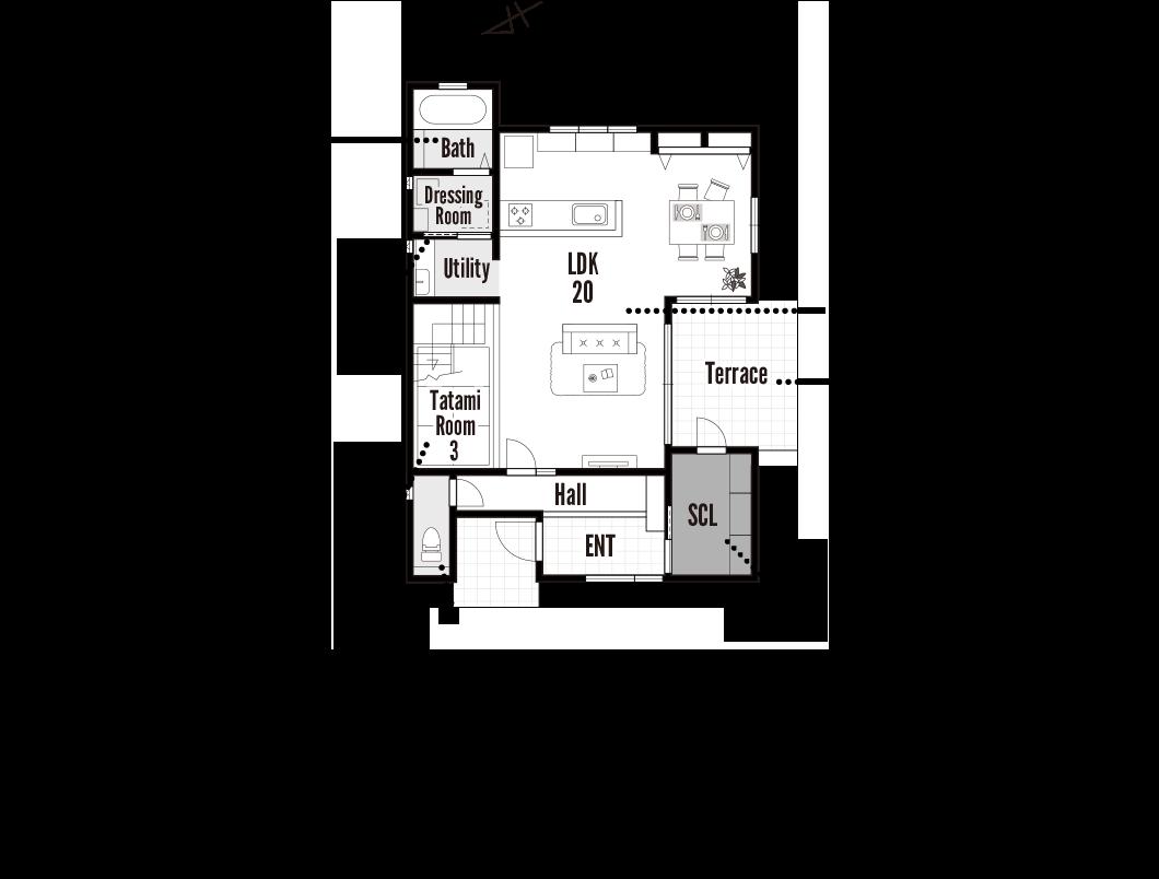 栗東モデルハウス 1階 間取り図