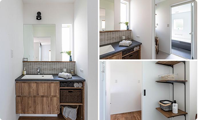 洗面室と脱衣室が分かれたセパレート型のプラン。