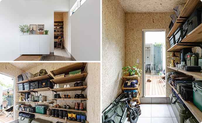 壁に集成パインを使った土間空間。
