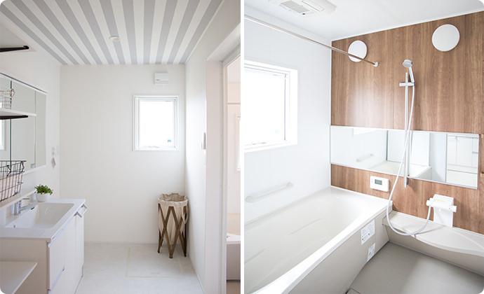 収納力抜群のサニタリールーム&キレイが保てるバスルーム